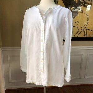 L.L. Bean Band Collar Tunic White 100% Cotton